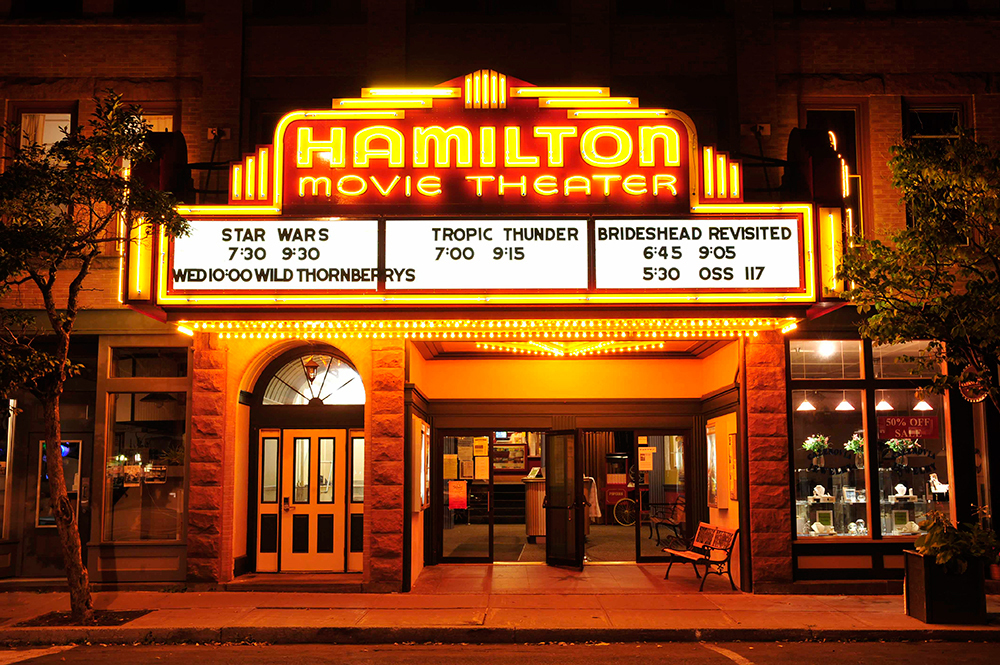 Hamilton Movie Theater front view with signs